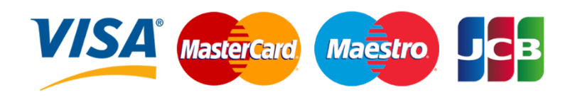 Accepted card types: Visa, Mastercard, JSB and Maestro